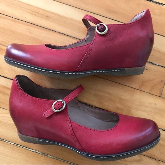 2817b9661c9 Dansko Shoes - Dansko Loralie Red Mary Jane Wedge